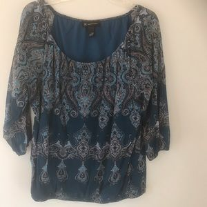 INC teal paisley blouse Sz Large
